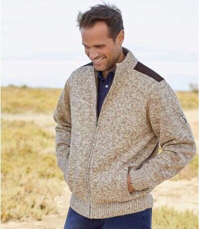 Men's Beige Fleece-Lined Knitted Jacket
