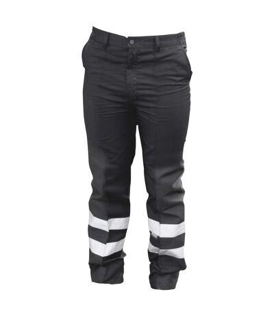 Yoko Mens Hi Vis Reflective Working Trousers (Black) - UTBC1275