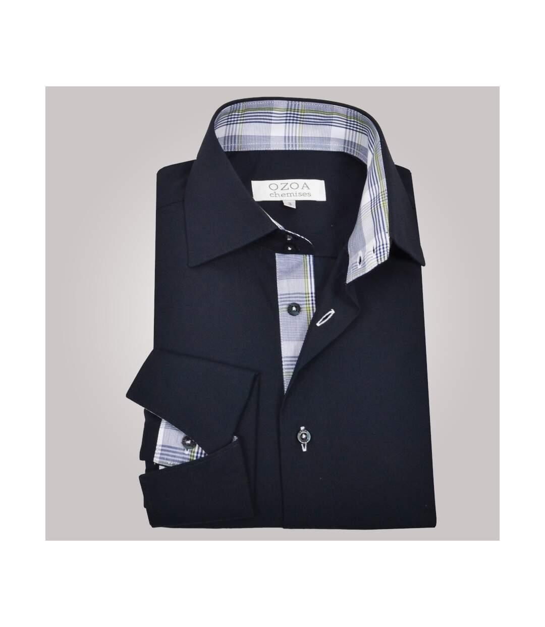 Chemise homme bleu marine intérieur à multi carreaux bleus poignets napolitains - Chemise CINTRÉE