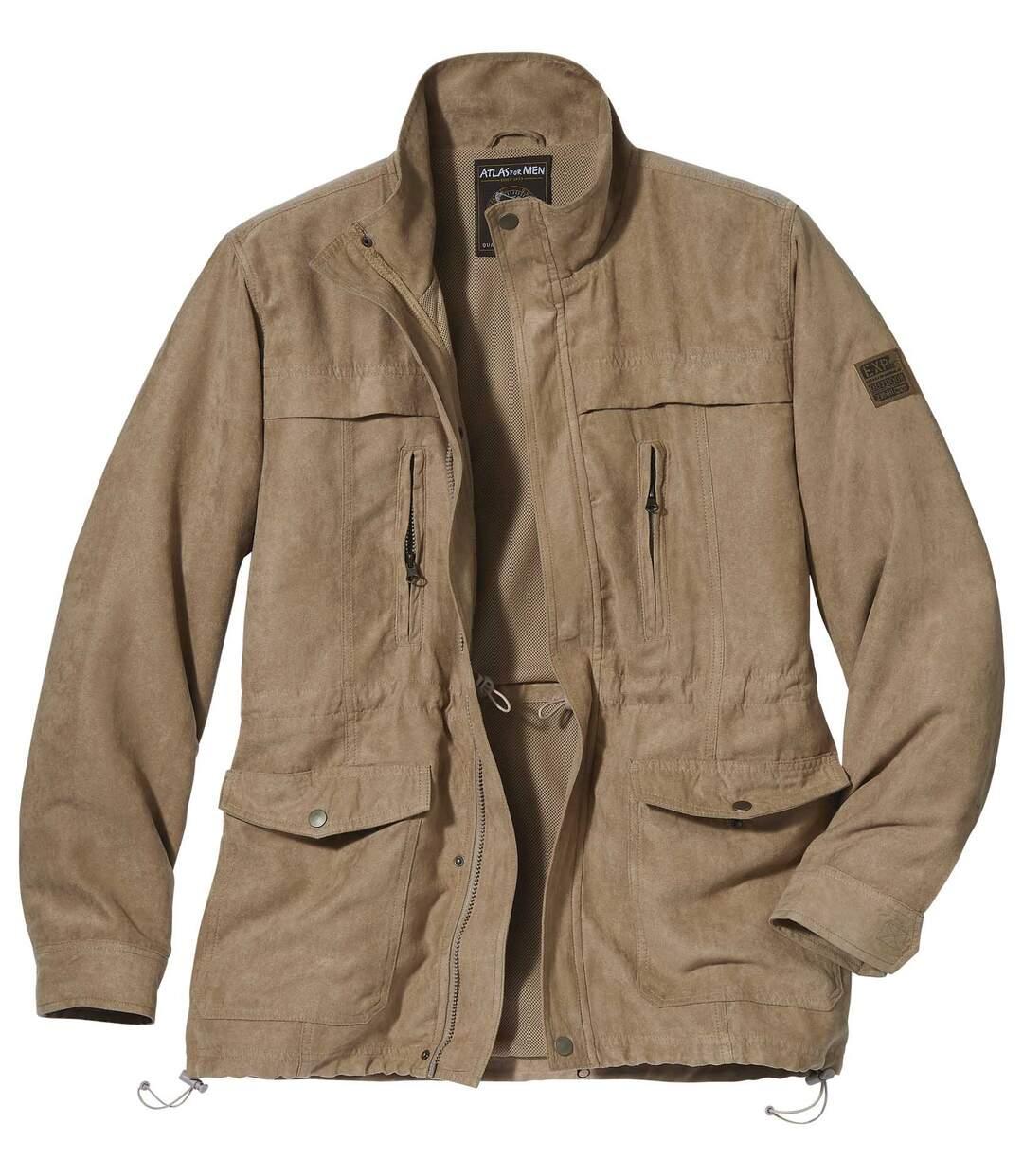 Safari-Jacke in Wildlederoptik mit vielen Taschen