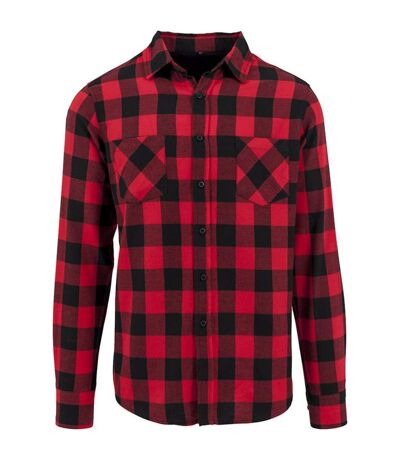 Build Your Brand Mens Checked Flannel Shirt (Black/Red) - UTRW5669