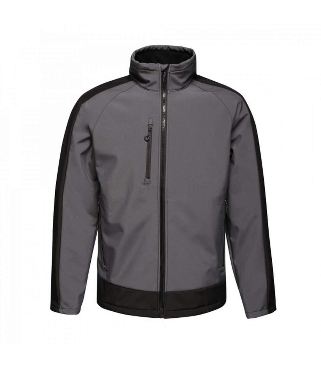 Regatta Mens Contrast 3 Layer Softshell Full Zip Jacket (Slate Grey/Signal Black) - UTRG3747