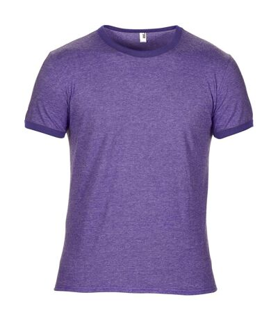 Anvil Mens Plain Lightweight Ringer T-Shirt (Heather Purple/Purple) - UTRW3464