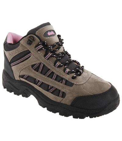 Dek Womens/Ladies Grassmere Lace-Up Ankle Trek & Trail Boots (Grey/Pink) - UTDF208