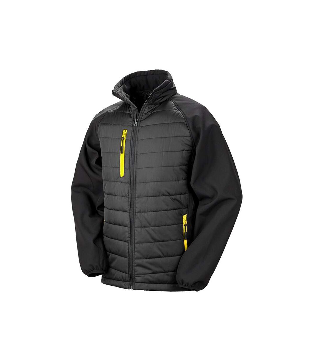 Result Mens Black Compass Padded Soft Shell Jacket (Black/Yellow) - UTPC3326