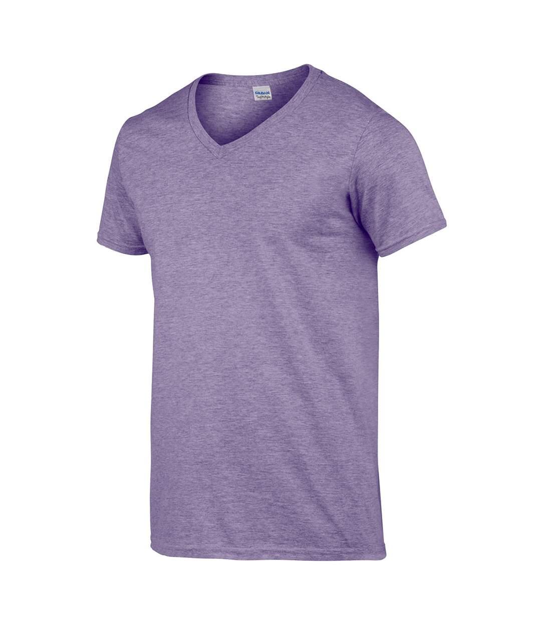 Gildan Mens Soft Style V-Neck Short Sleeve T-Shirt (Heather Purple) - UTBC490