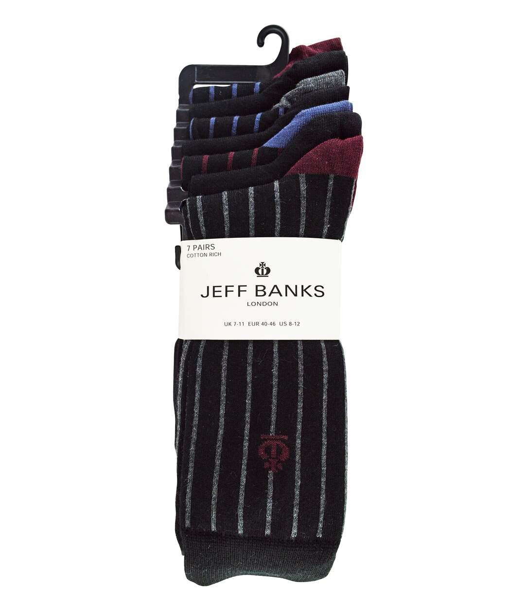 Jeff Banks - 7 Pk Mens Striped Cotton Everyday Dress Socks