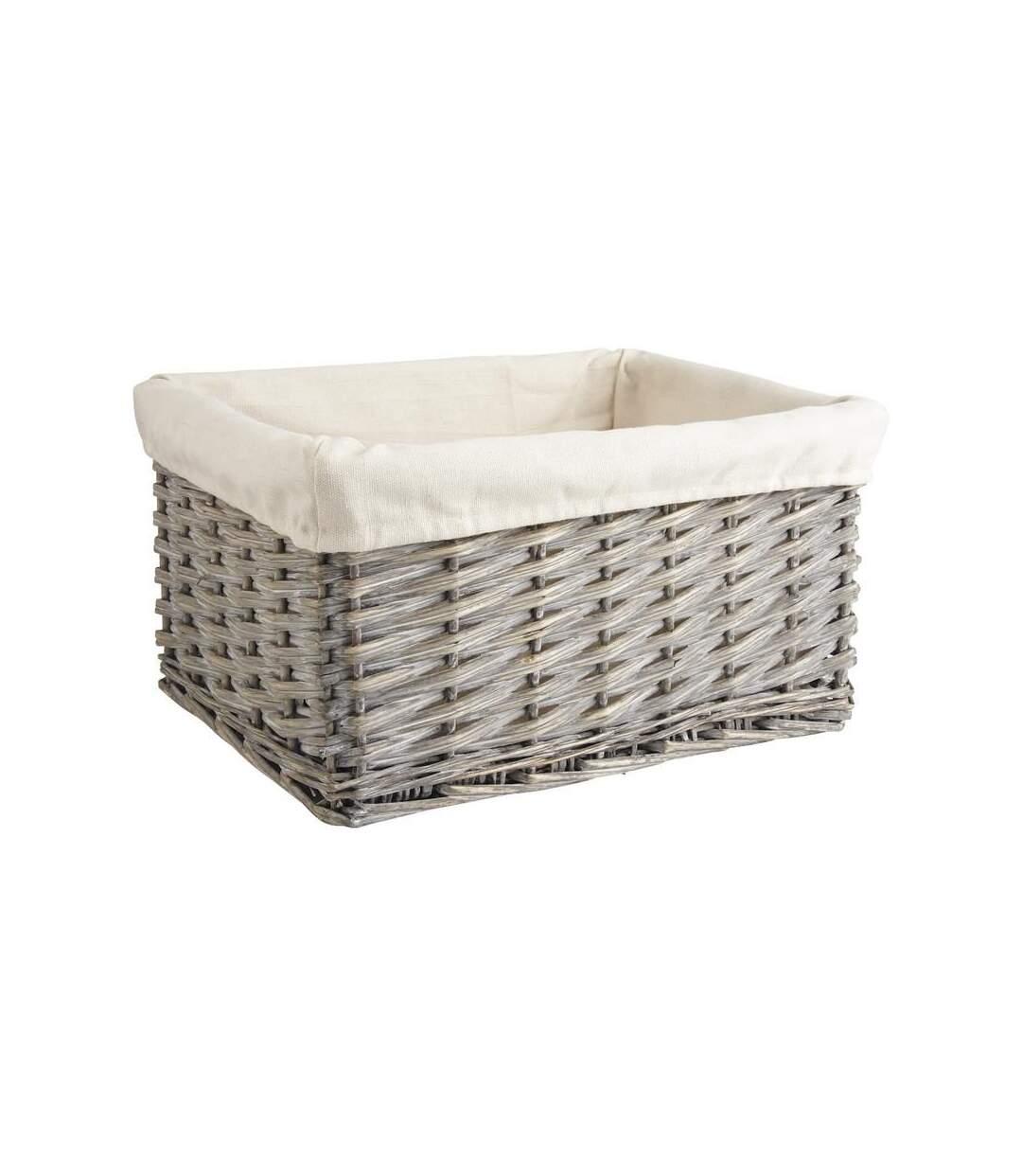 Corbeille de rangement en osier gris et coton Taille 1