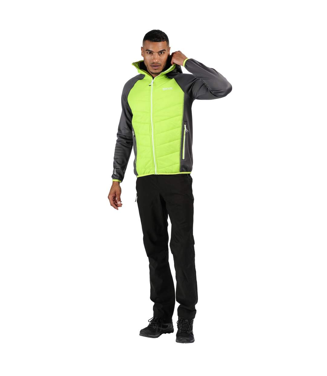Regatta Mens Andreson IV Lightweight Insulated Hybrid Jacket (Grey/Electric Lime) - UTRG4054