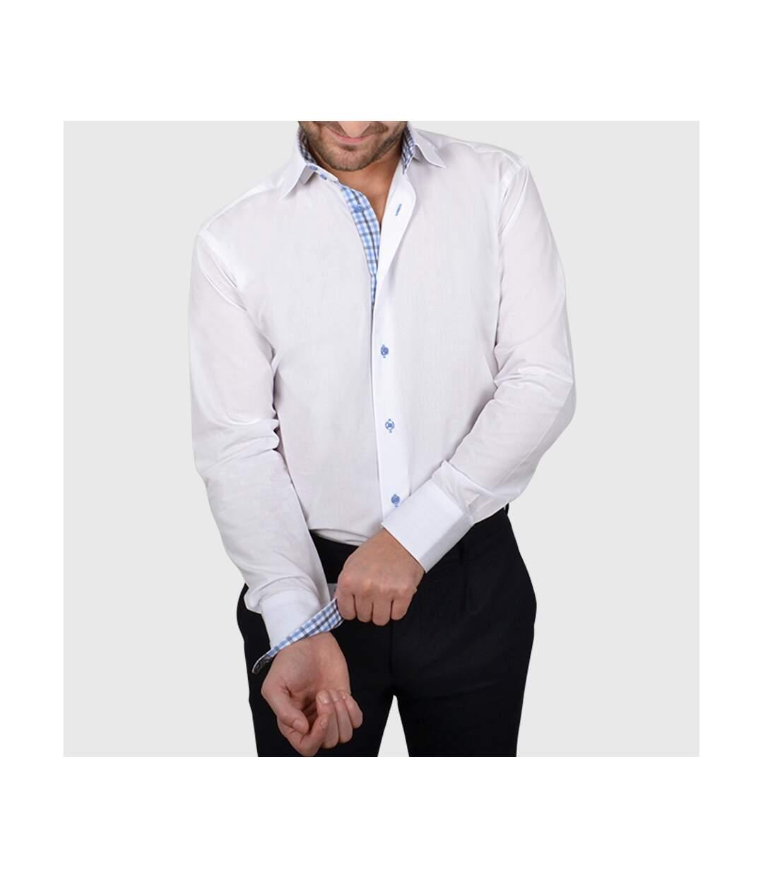 Chemise homme blanche intérieur à carreaux marines et ciels - Chemise NON CINTRÉE