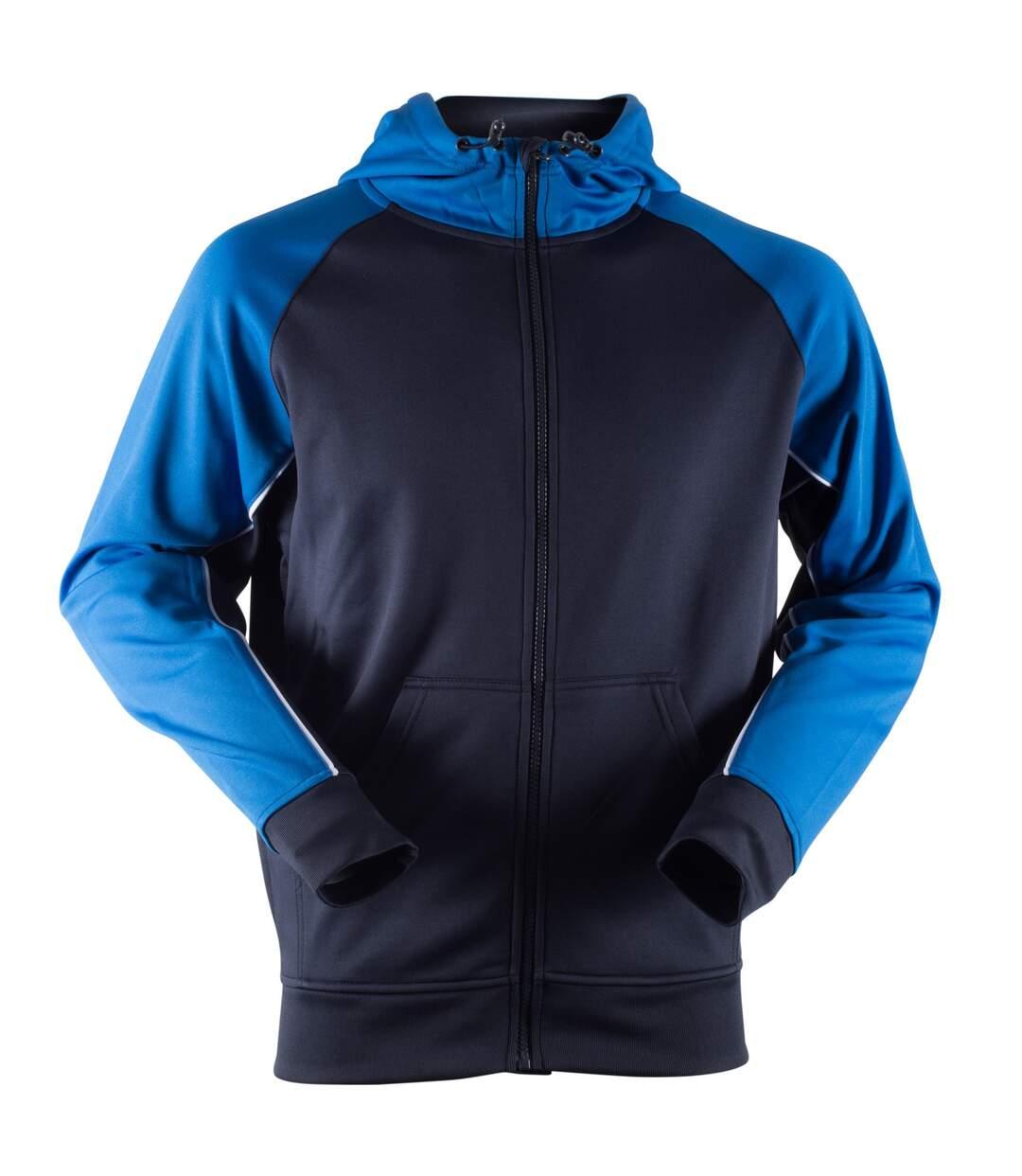 Finden & Hales Mens Moisture Wicking Panelled Sports Hoodie (Navy/Royal/White) - UTRW4690