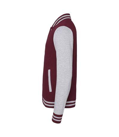 Awdis Unisex Varsity Jacket (Burgundy / Heather Grey) - UTRW175