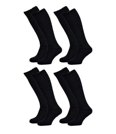 Chaussettes de Travail TRACTO pour Homme Résistance et Qualité Pro Pack de 4 TRACTO Mi Bas Noir