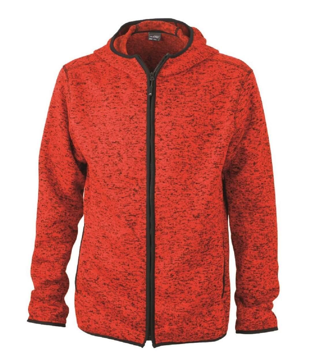 Veste tricot polaire à capuche HOMME- JN589 - rouge chiné