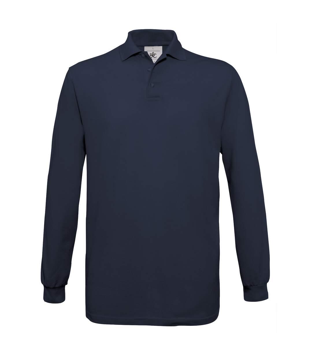 B&C Mens Safran Long Sleeve Cotton Polo Shirt (Red) - UTRW3005