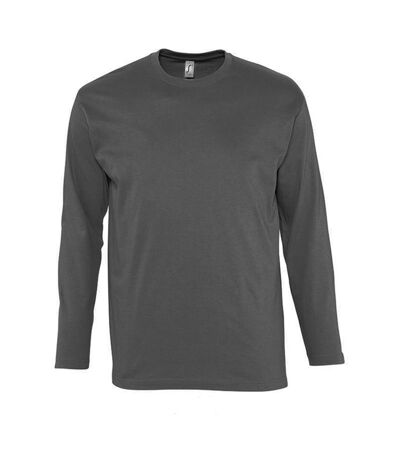 SOLS Mens Monarch Long Sleeve T-Shirt (Dark Grey) - UTPC313