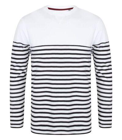 Marinière homme - t-shirt manches longues - FR134 - blanc rayé