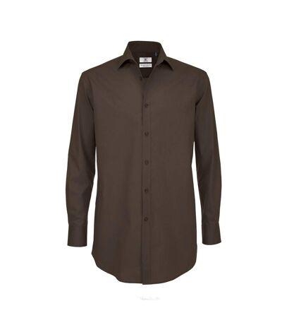 B&C Mens Black Tie Long Sleeve Formal Work Shirt (Coffee Bean) - UTRW3521