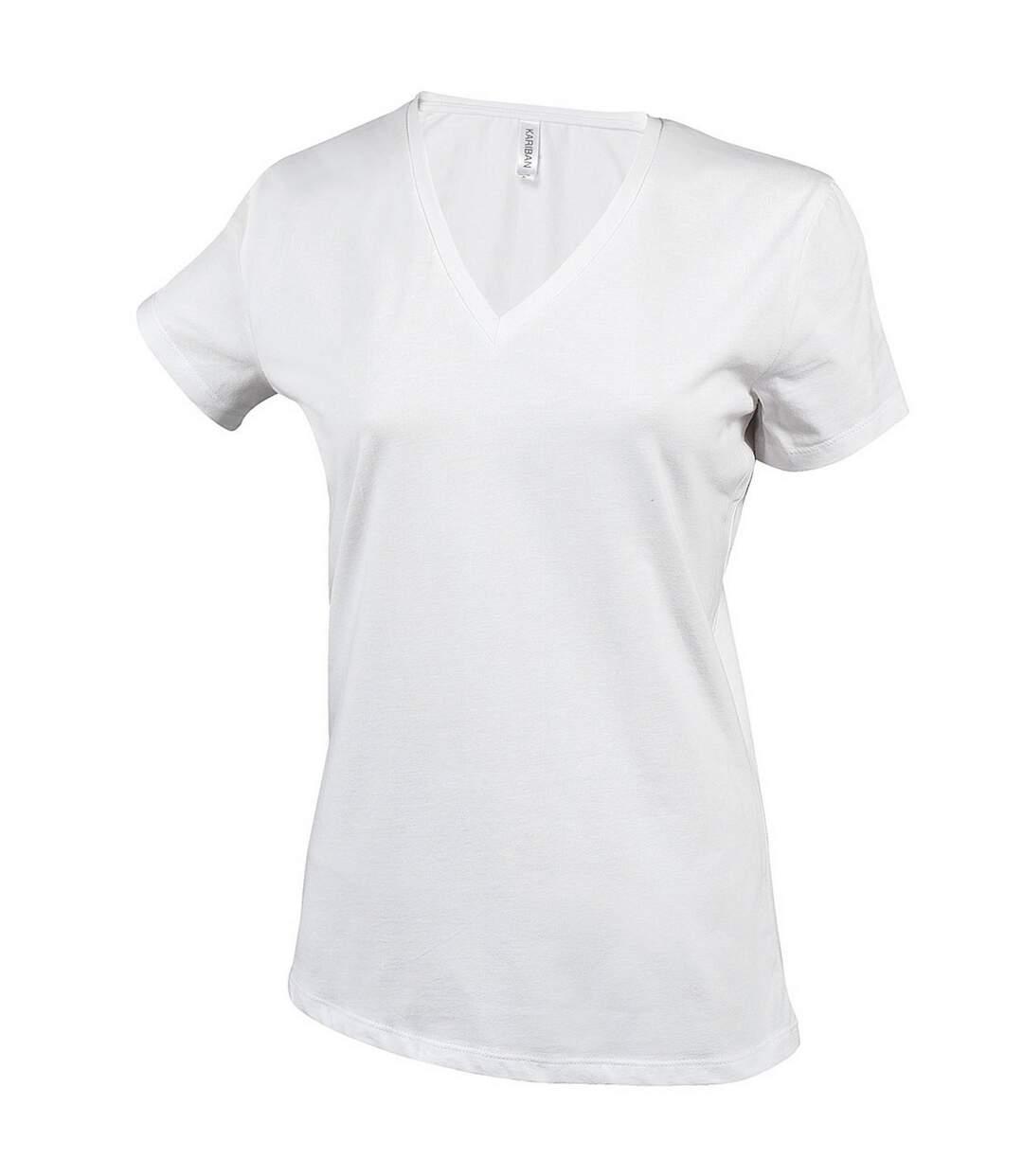 Kariban - T-Shirt À Manches Courtes Et Col En V - Femme (Blanc) - UTRW711