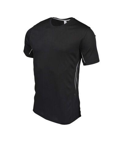 Kariban Proact Mens Quick Drying Contrast Sports T-Shirt (Black/Silver) - UTPC2530