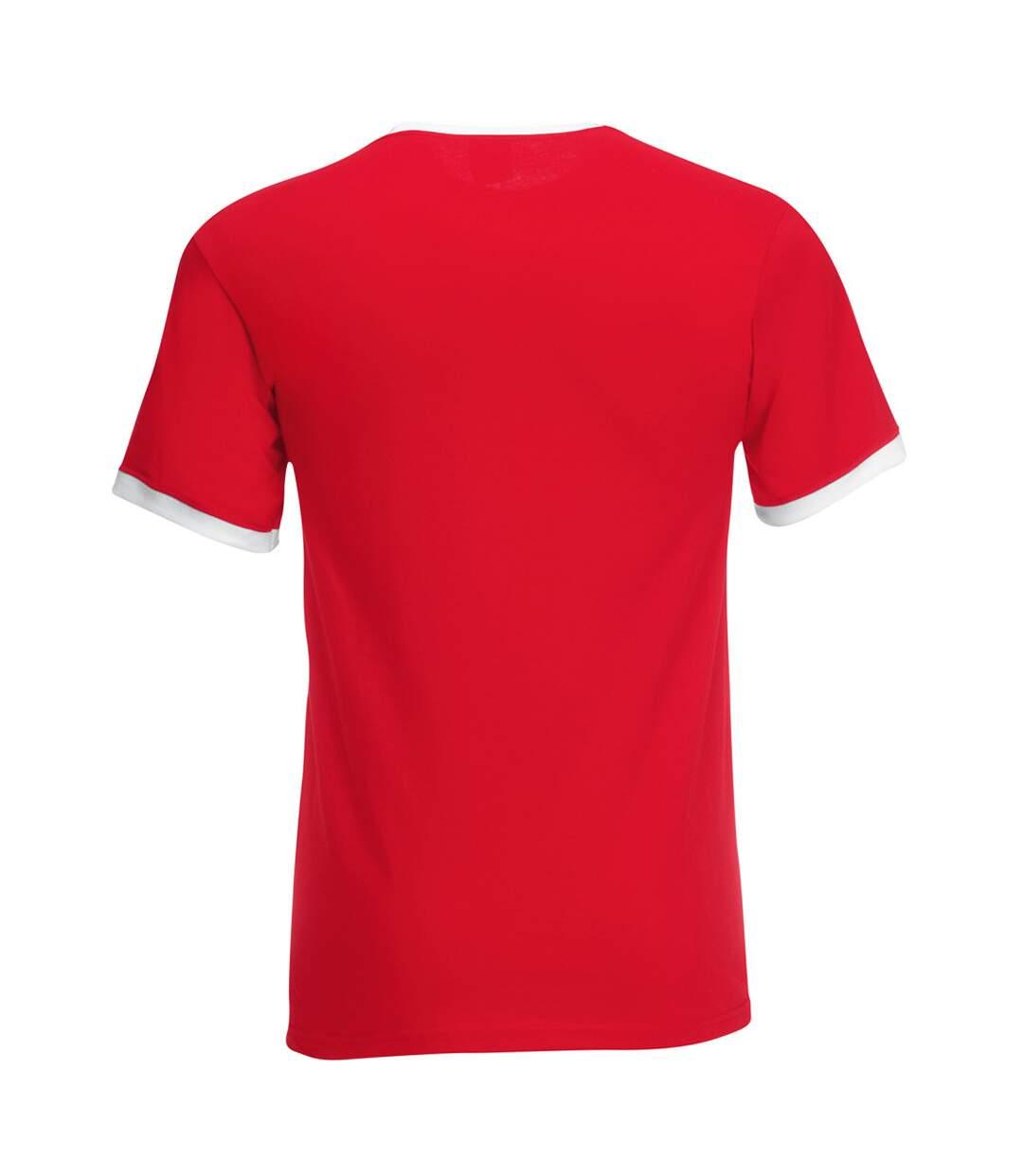 Fruit Of The Loom Mens Ringer Short Sleeve T-Shirt (Red/White) - UTBC342