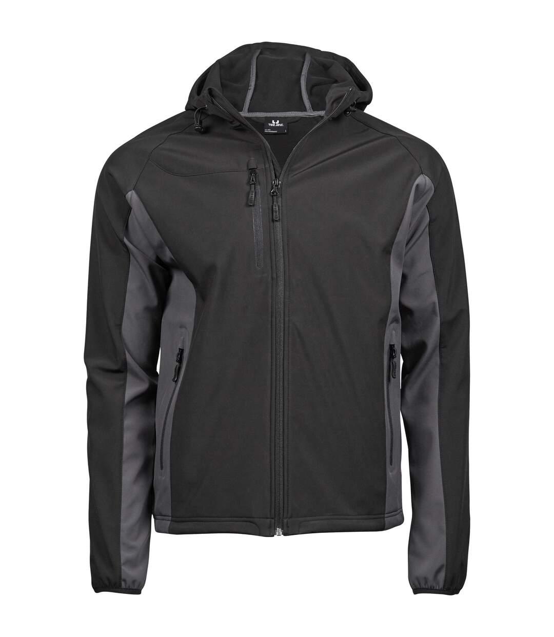 Tee Jays Mens Lightweight Performance Hooded Soft Shell Jacket (Black/Dark Grey) - UTPC3431
