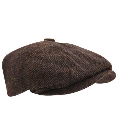 Mens Wool Blend Herringbone 8 Panel Newsboy Cap (Brown) - UTHA484