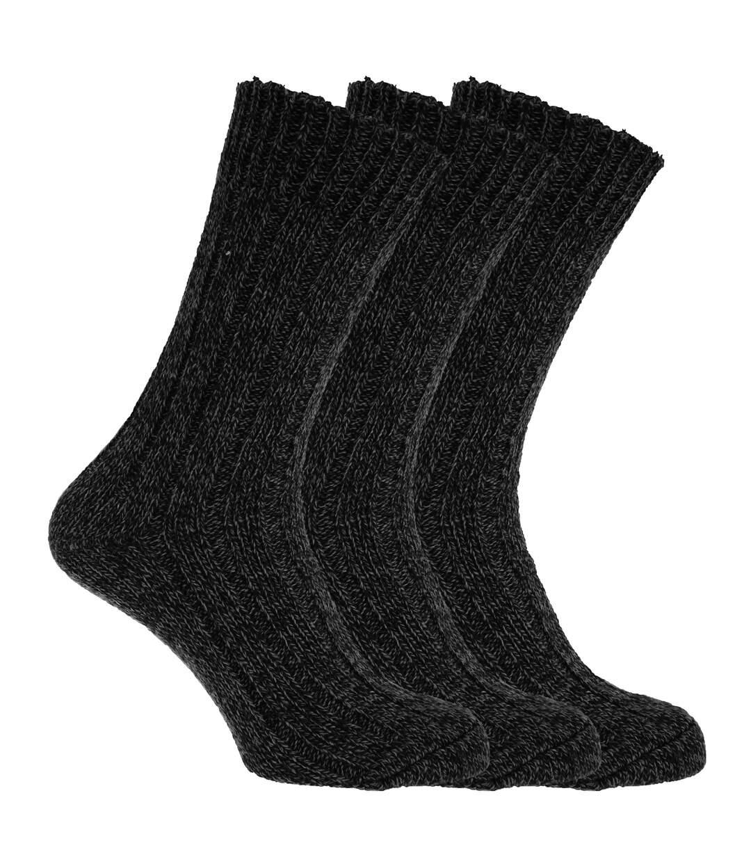 Mens Wool Blend Boot Socks (Pack Of 3) (Black) - UTMB158