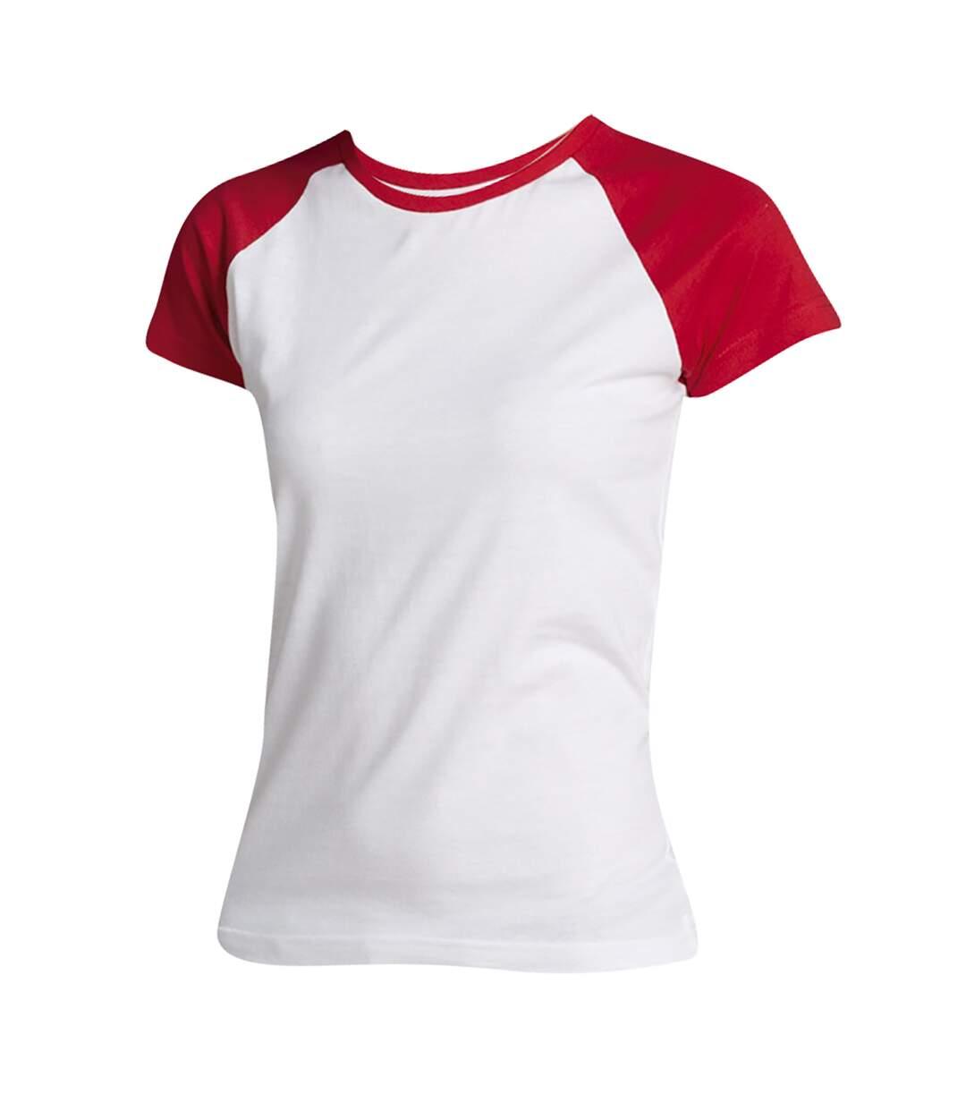 Sols Milky - T-Shirt À Manches Courtes En Contraste - Femme (Blanc/Rouge) - UTPC301