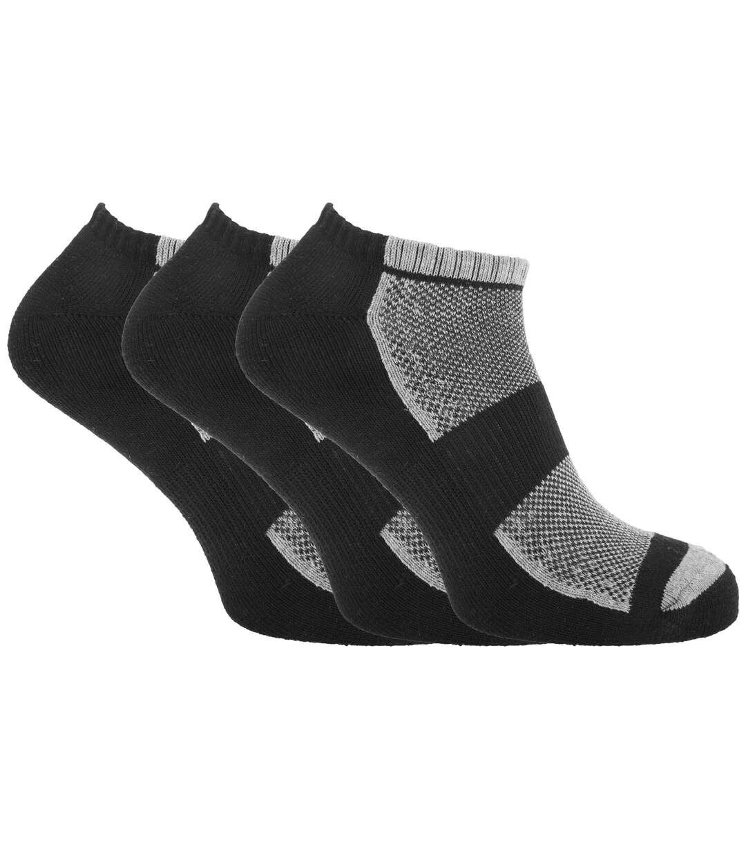 Mens Cotton Rich Sports Trainer Socks With Mesh And Ribbing (Pack Of 3) (Black/Grey Marl) - UTMB303