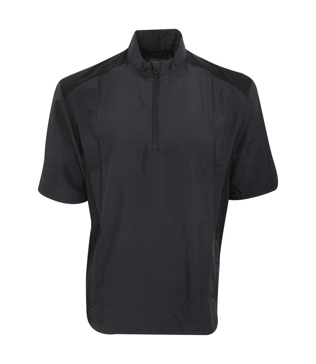 Adidas Mens Club Wind Water Resistant & Windproof Short Sleeve 1/4 Zip Neck Top (Black) - UTRW3883