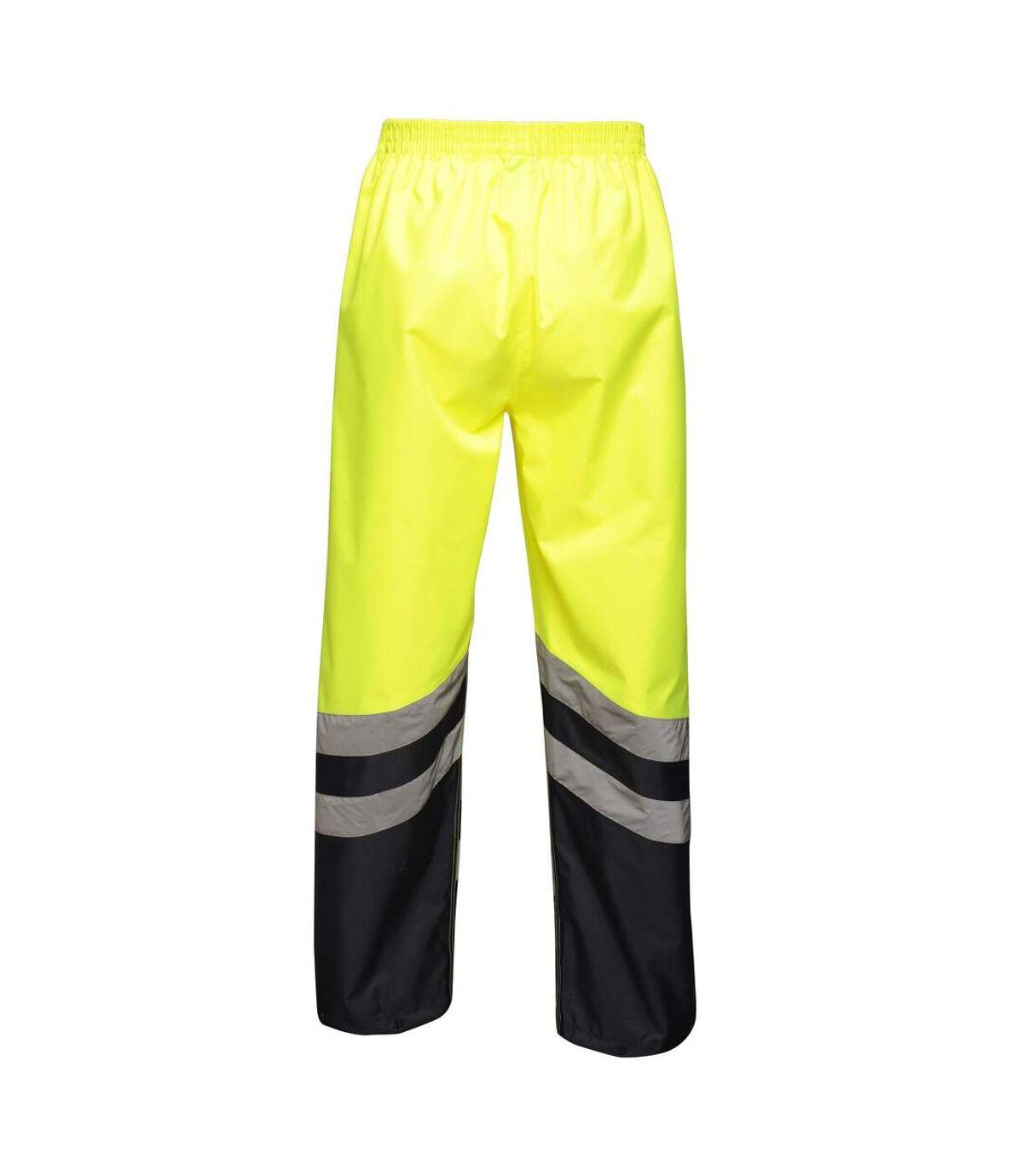 Regatta Unisex Hi Vis Pro Reflective Work Over Trousers (Yellow/Navy) - UTRG3980