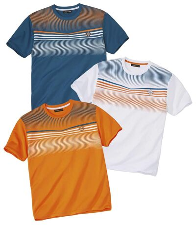 Pack of 3 Men's Print Sports T-Shirts - White Blue Orange
