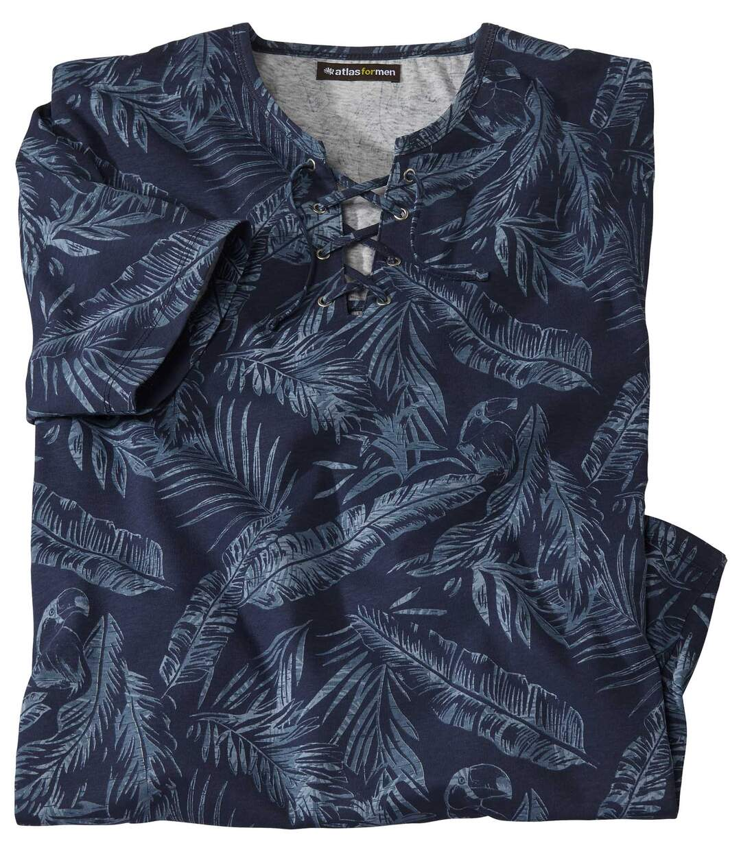 Tropical T-shirt met veterhals