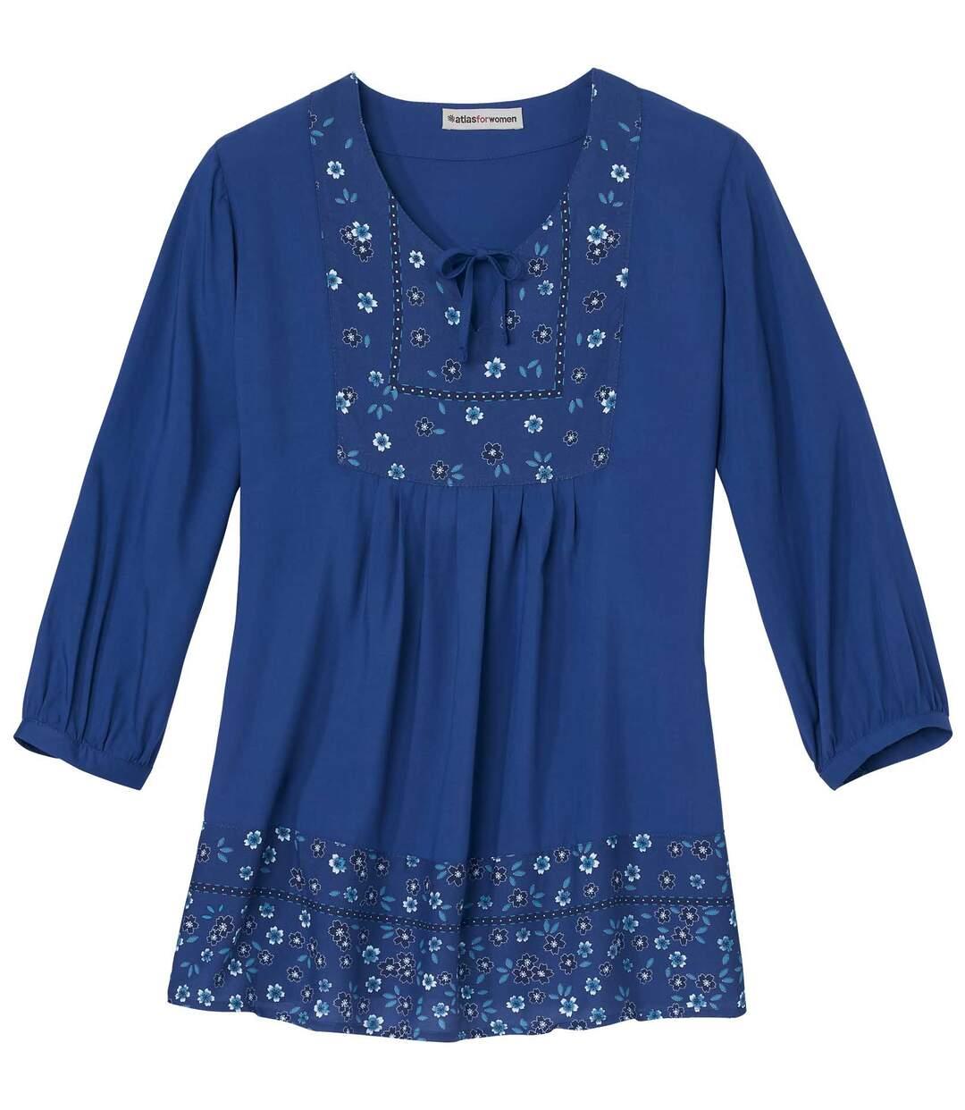 Folklore-Bluse mit blauen Blumen Atlas For Men