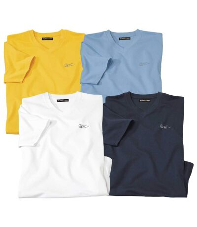 Pack of 4 Men's Summer T-Shirts - White Blue Yellow Navy