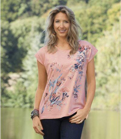Women's Floral Short Sleeve T-Shirt - Peach