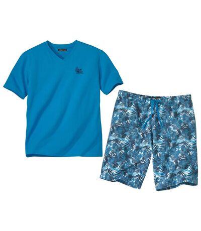 Kurzer Schlafanzug Blue Jungle