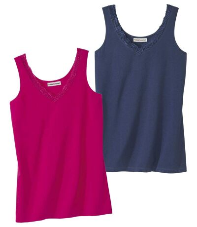 Pack of 2 Women's Stretch Tank Tops - Pink Navy