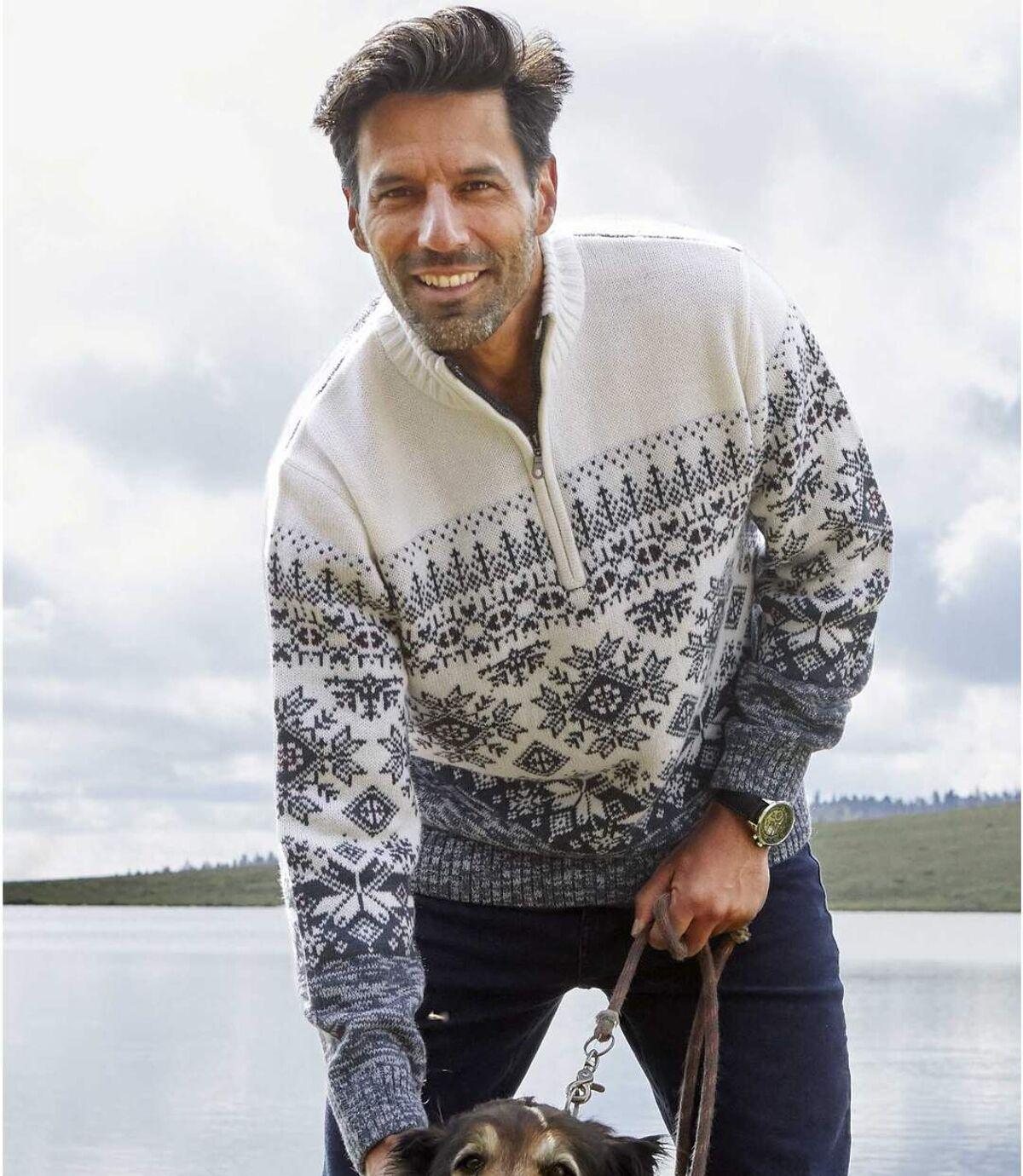 Jacquard mintás, magas, cipzáras nyakú kötött pulóver Atlas For Men