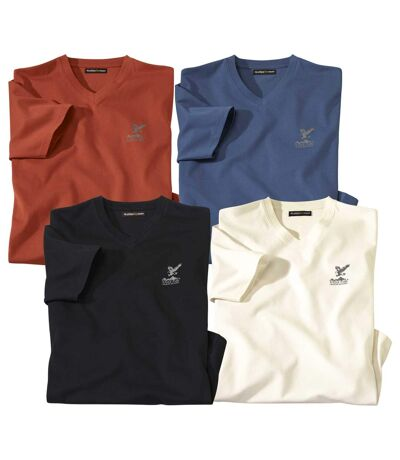 Pack of 4 Men's V-Neck T-Shirts - Brick Blue White Black