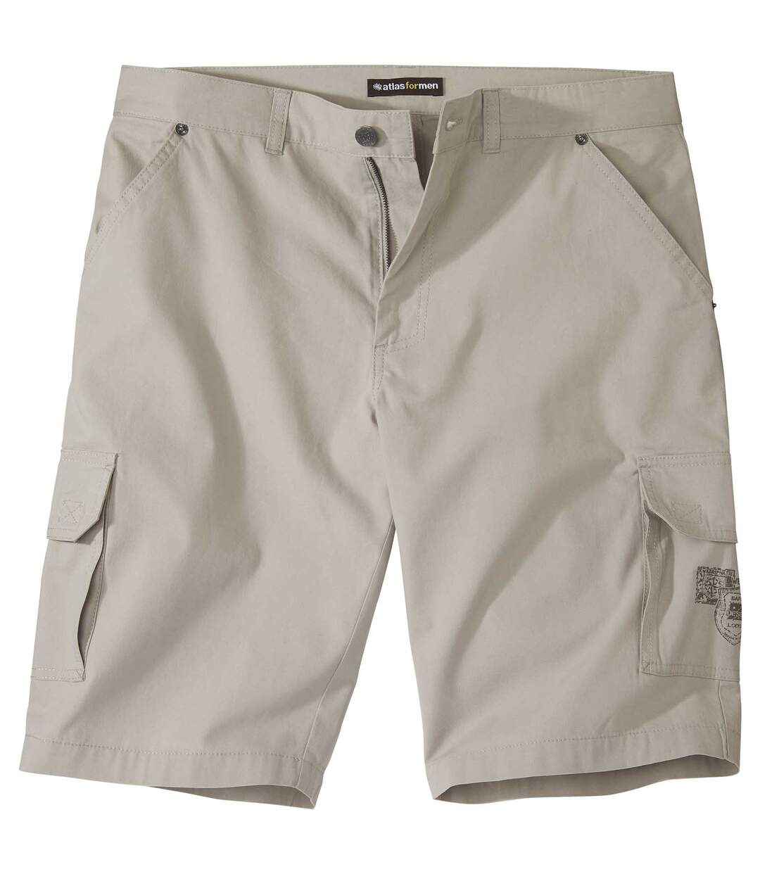 Men's Beige Canvas Cargo Shorts