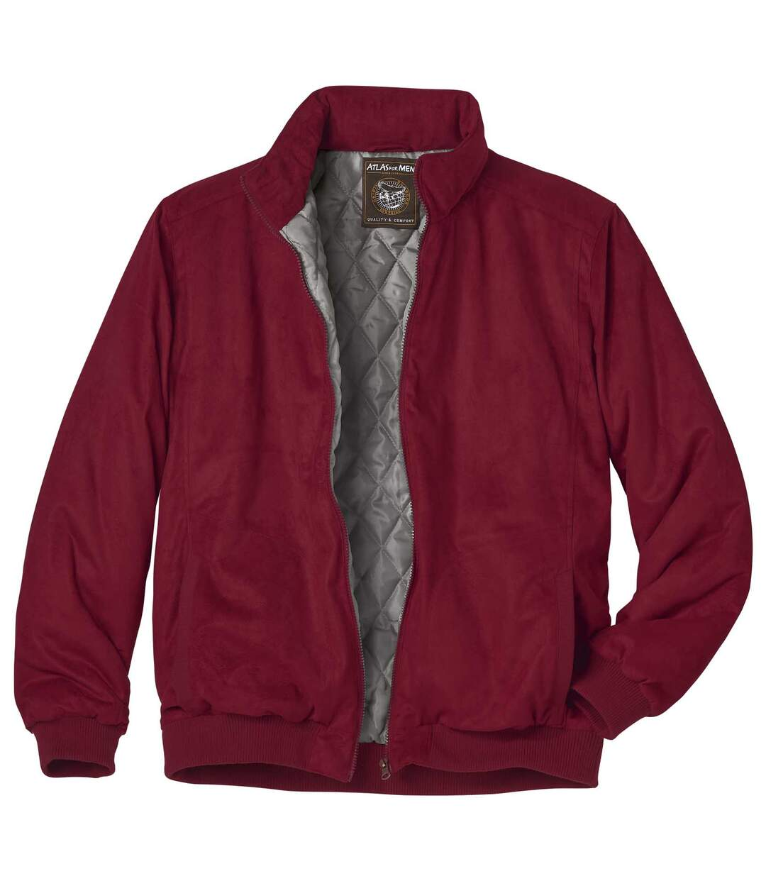 Burgundy Full Zip Faux Suede Jacket