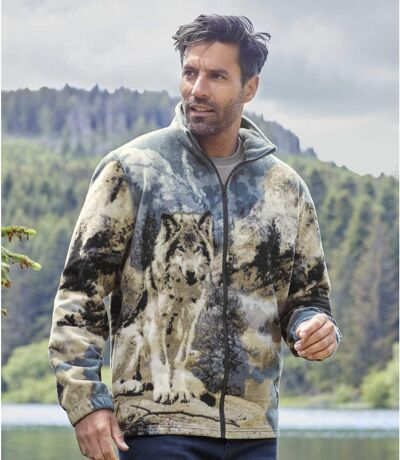 Polarowa bluza z nadrukiem wilka