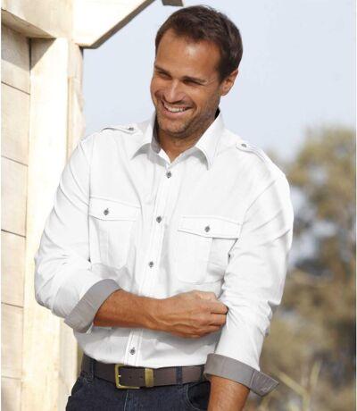 Men's Aviator White Shirt