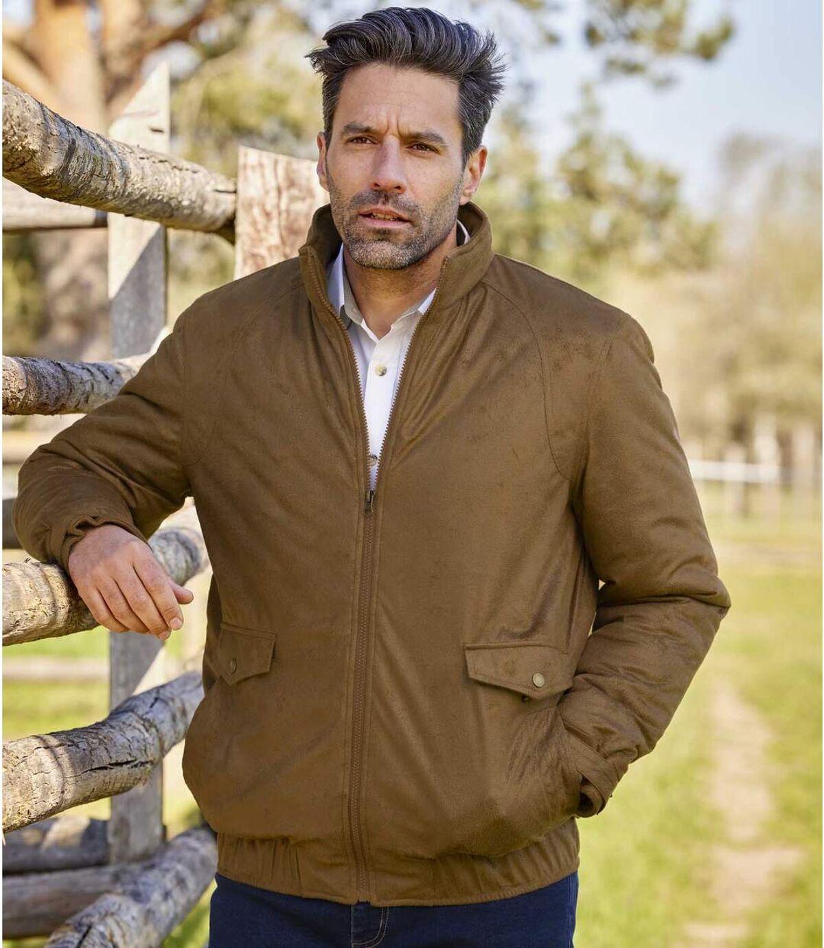 Men's Water-Repellent Faux-Suede Jacket - Camel Atlas For Men