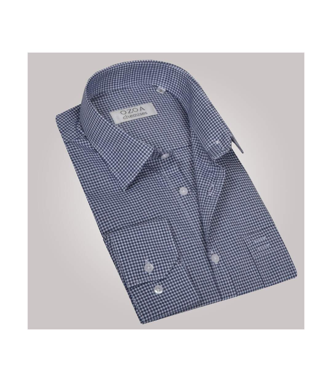 Chemise homme à carreaux bleu gris avec poche poitrine - Chemise NON CINTRÉE
