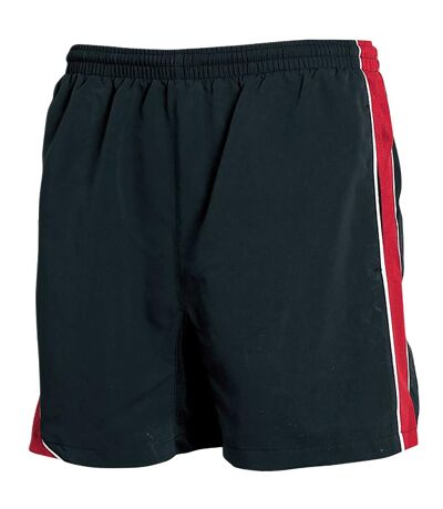 Tombo Teamsport Mens Lined Performance Sports Shorts (Black/Red/ White Piping) - UTRW1546