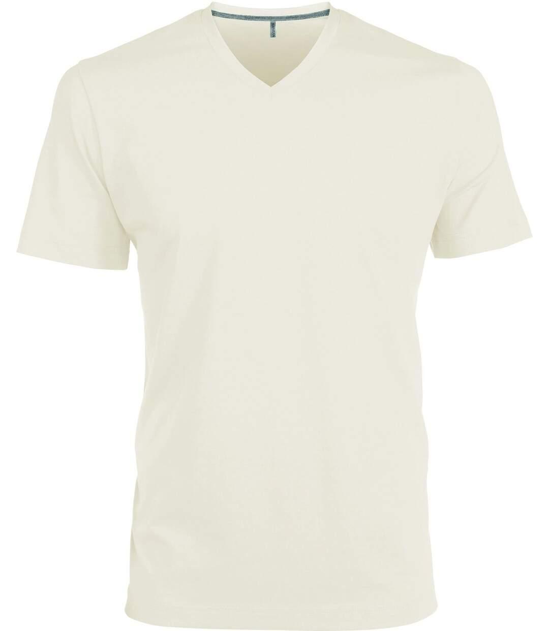 T-shirt manches courtes col V - K357 - beige - homme