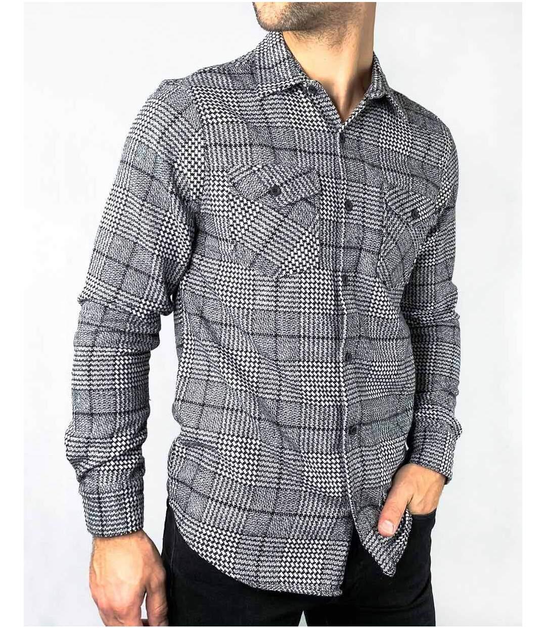 Chemises à carreaux gris noir type surchemise pour homme à manches longues